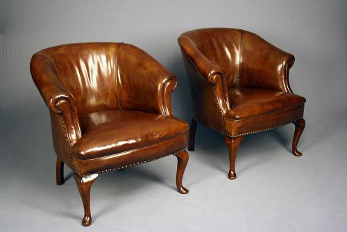 antique pair of leather tub chairs - Antique Pair Of Leather Tub Chairs 281262 Sellingantiques.co.uk
