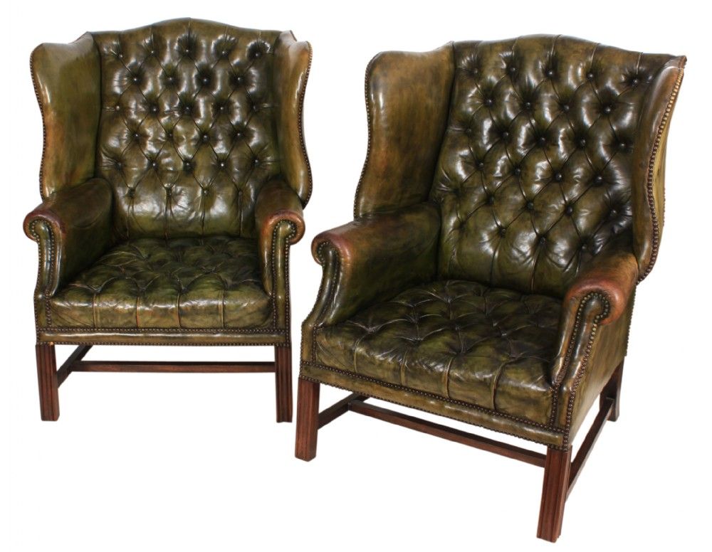 Magnificent Pair Of Green Leather Chesterfield Wing Chairs 546766 Camellatalisay Diy Chair Ideas Camellatalisaycom