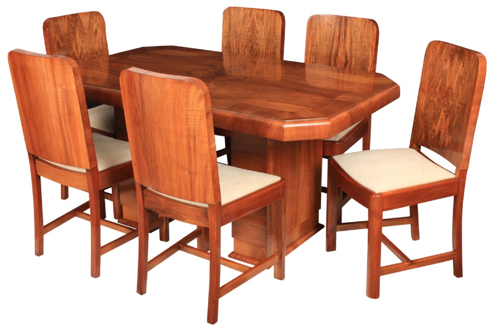 art deco walnut dining table and 6 chairs