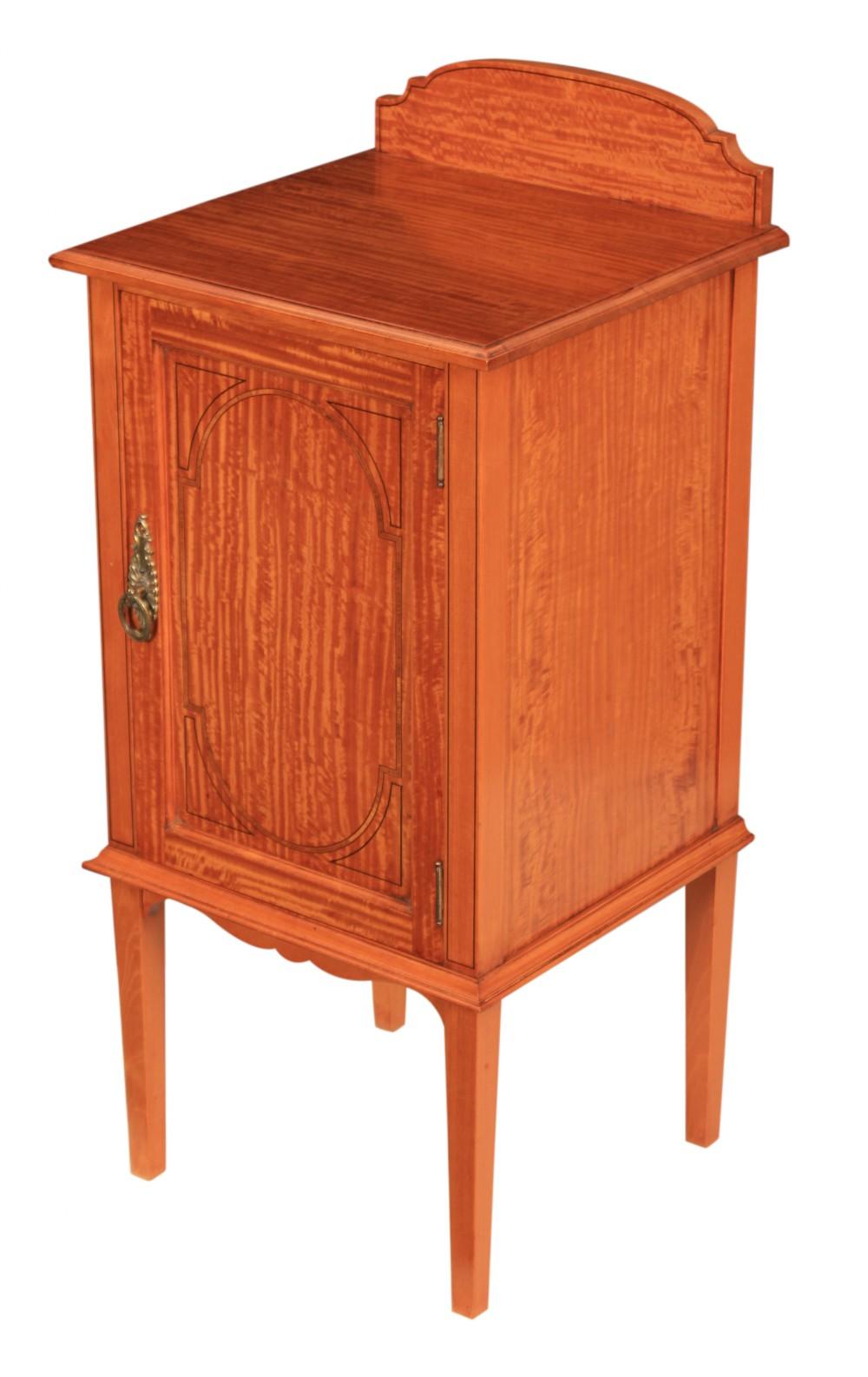 inlaid satinwood bedside cabinet