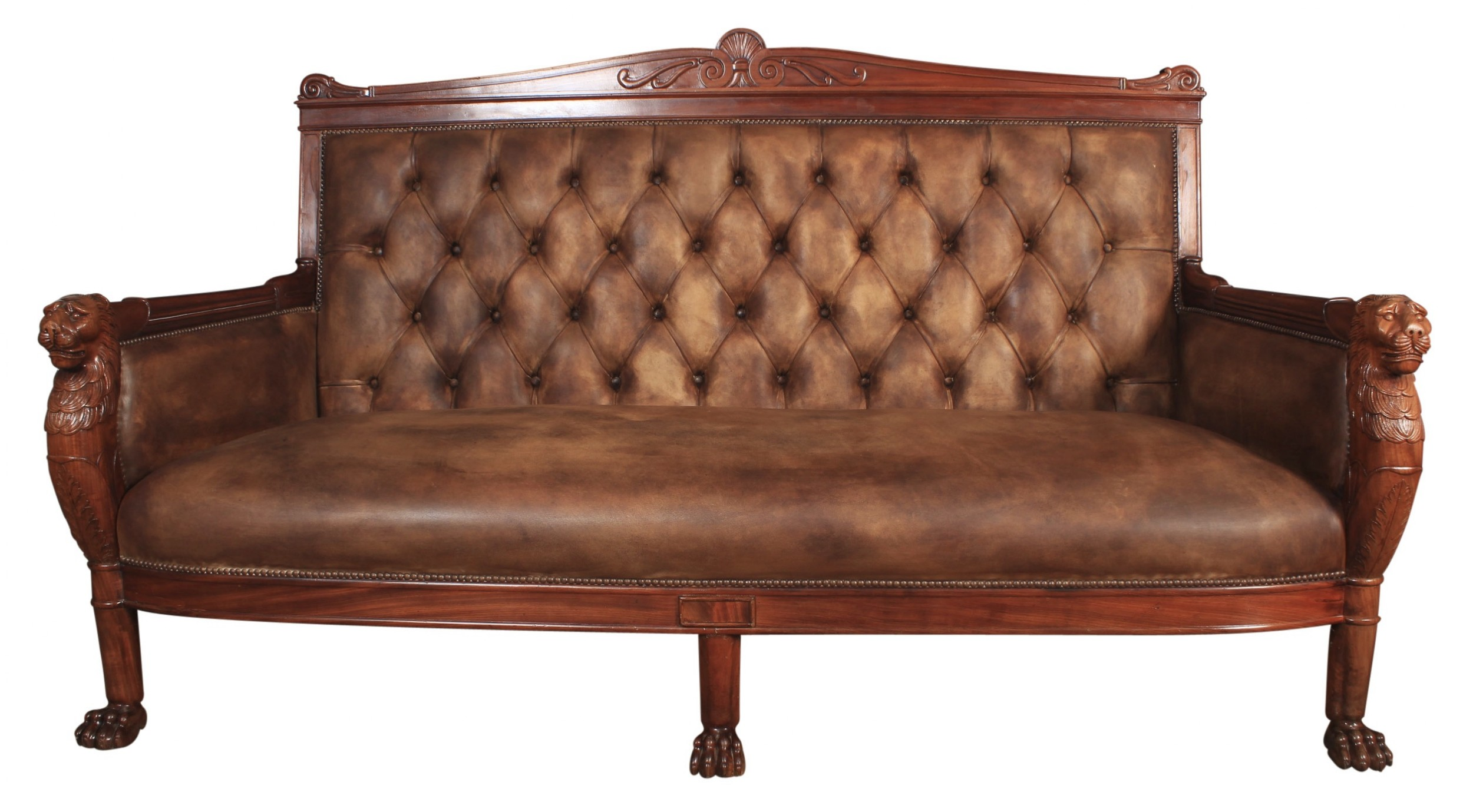 french mahogany leather chesterfield style sofa c1820