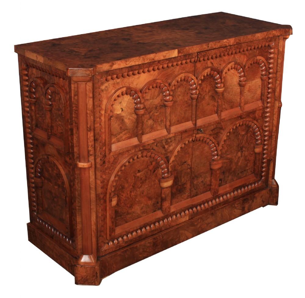 rare burr walnut side cabinet