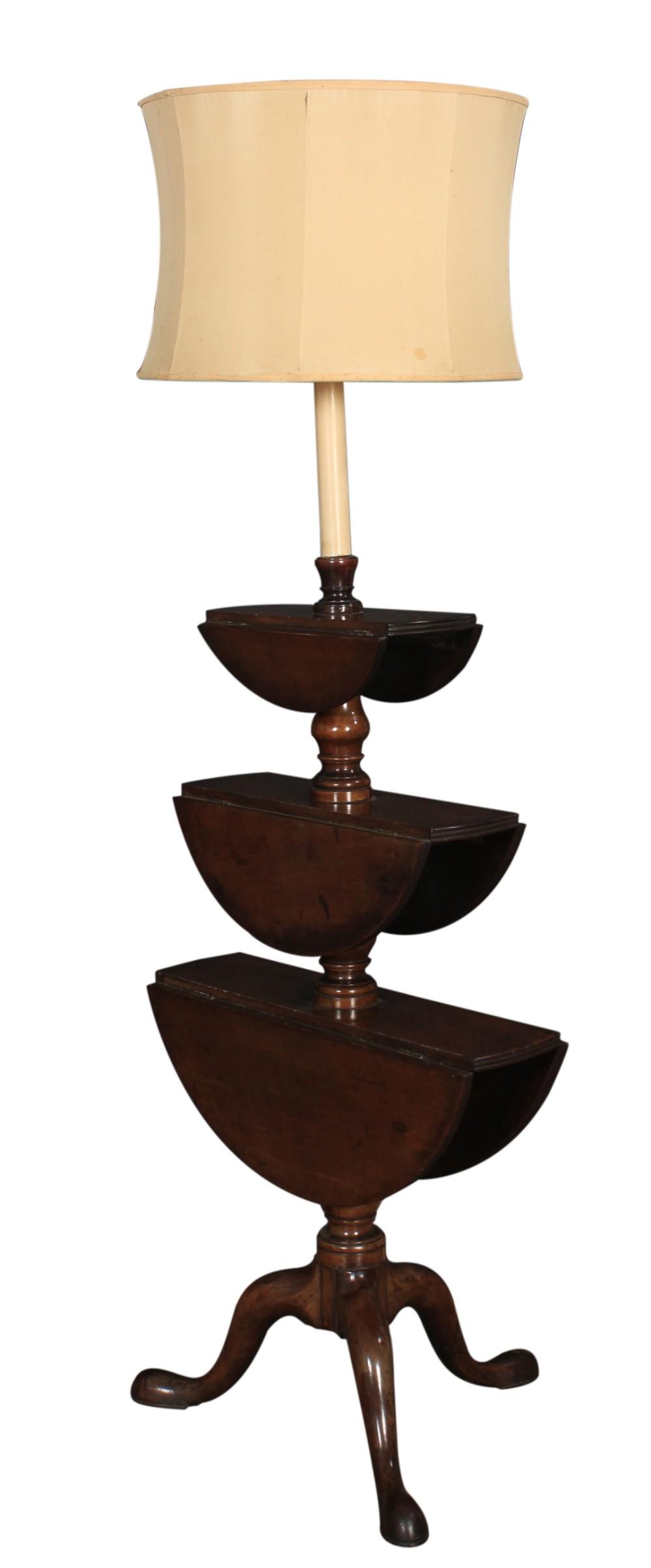 georgian mahogany rotating dumb waiter lamp