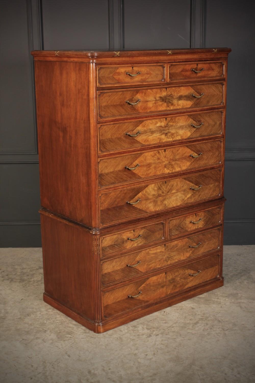 victorian figured walnut chest on chest