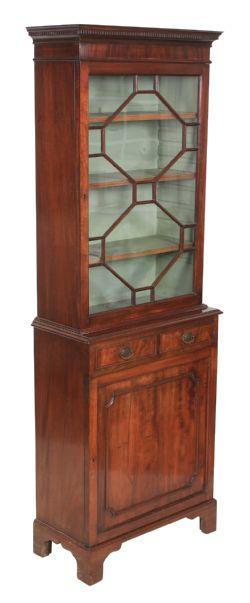 Carved Oak Painted Distressed Bookcase Display Cabinet