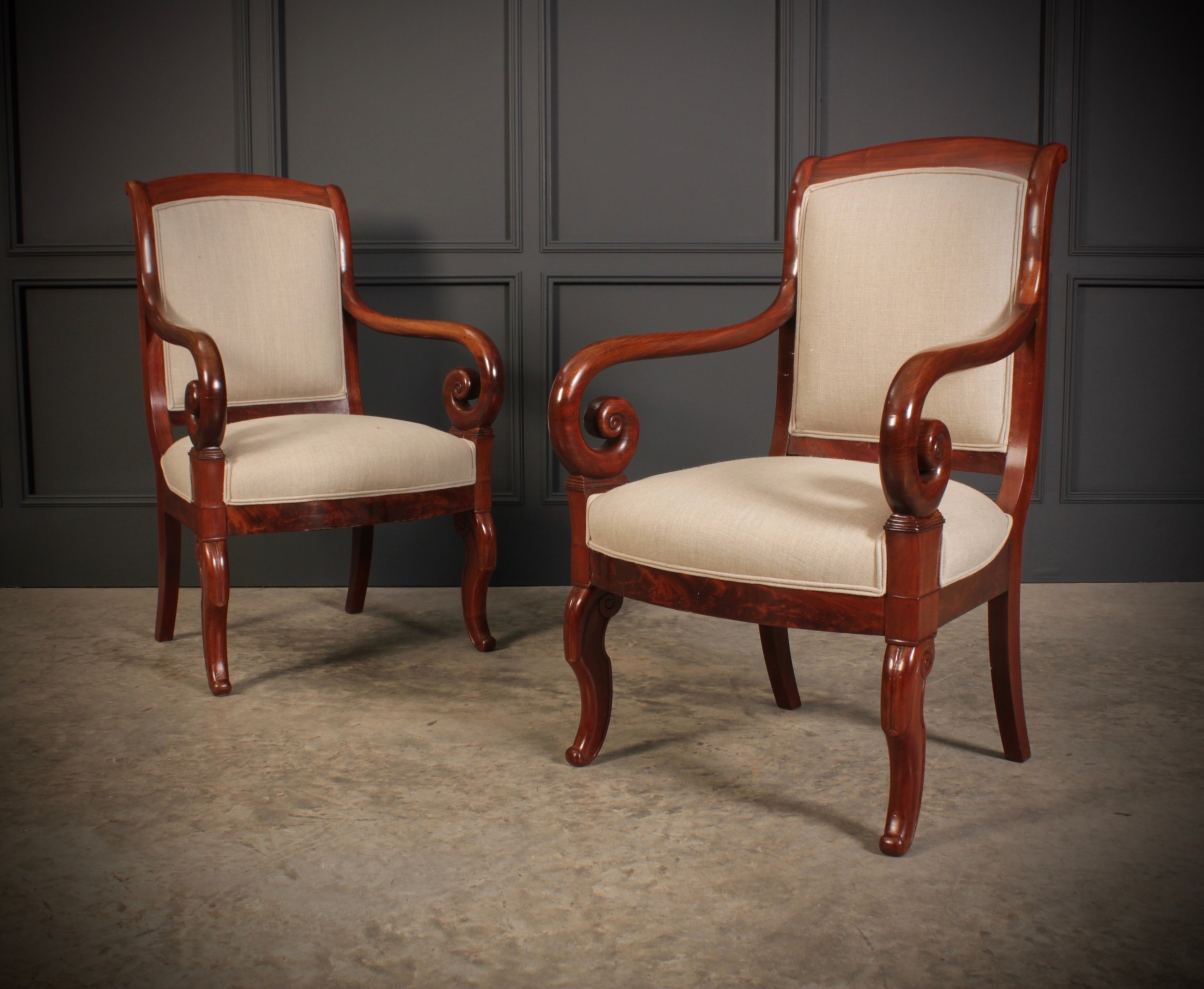 pair of french mahogany empire chairs