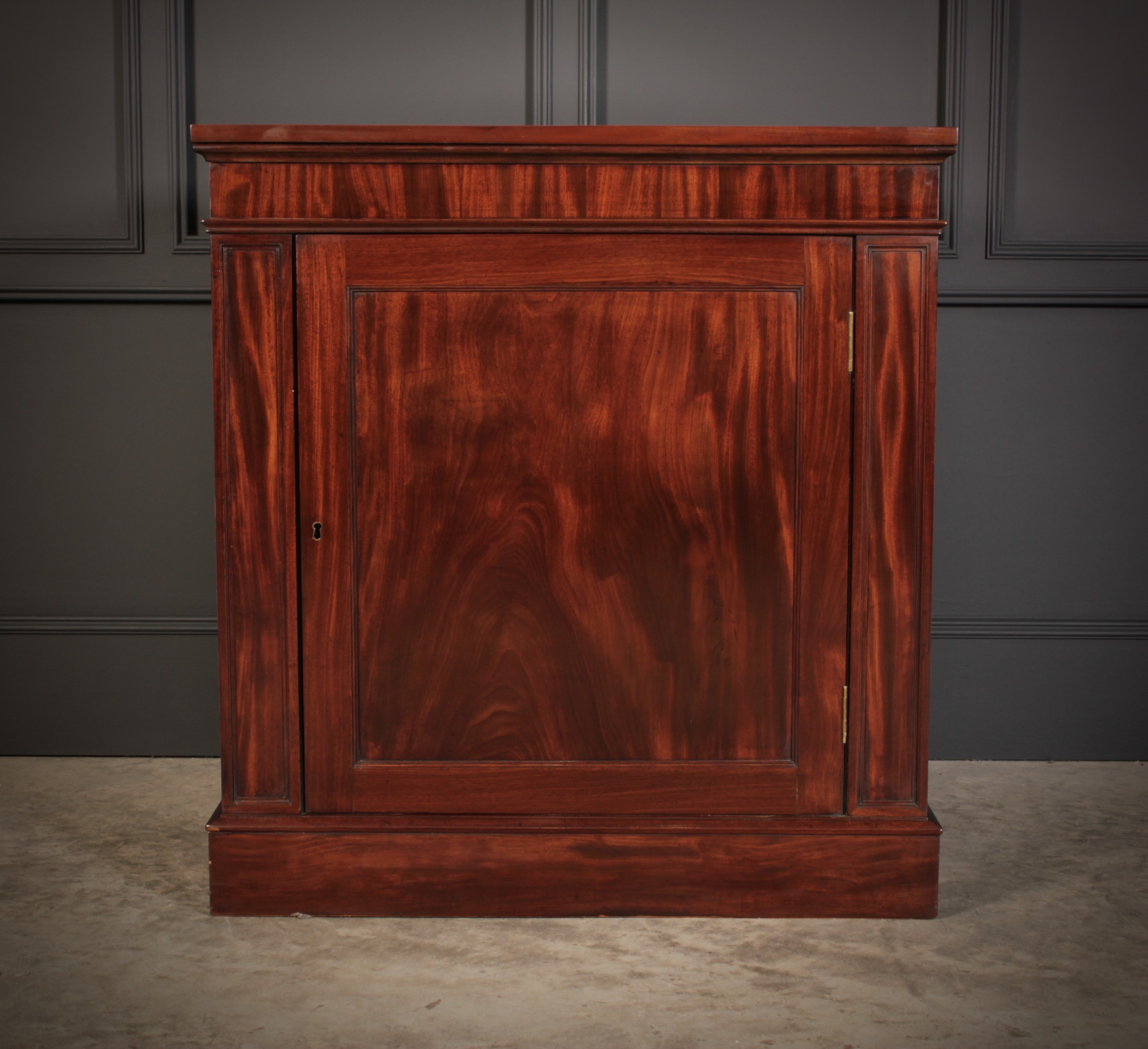 figured mahogany side cabinet