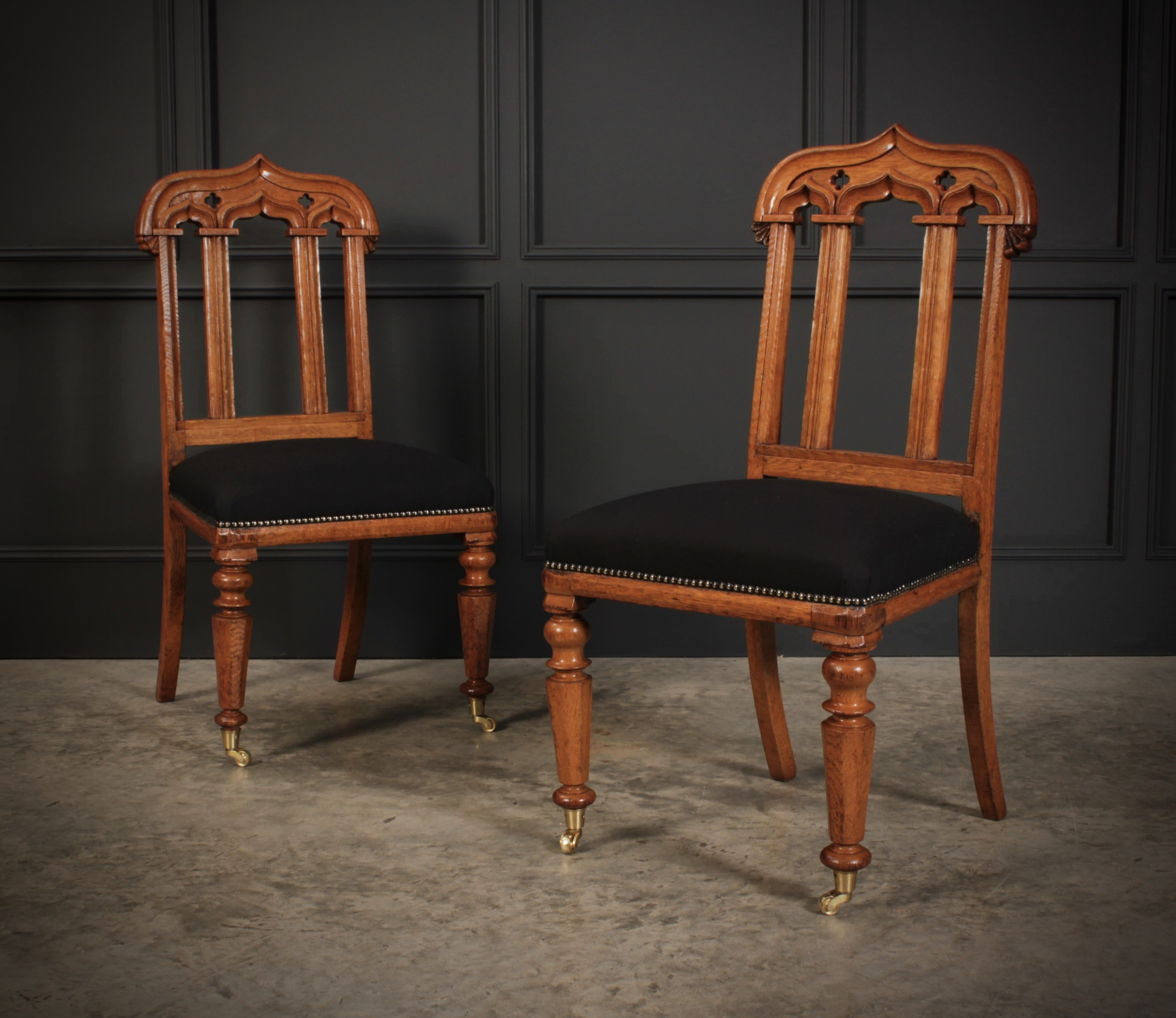 pair of victorian gothic oak chairs