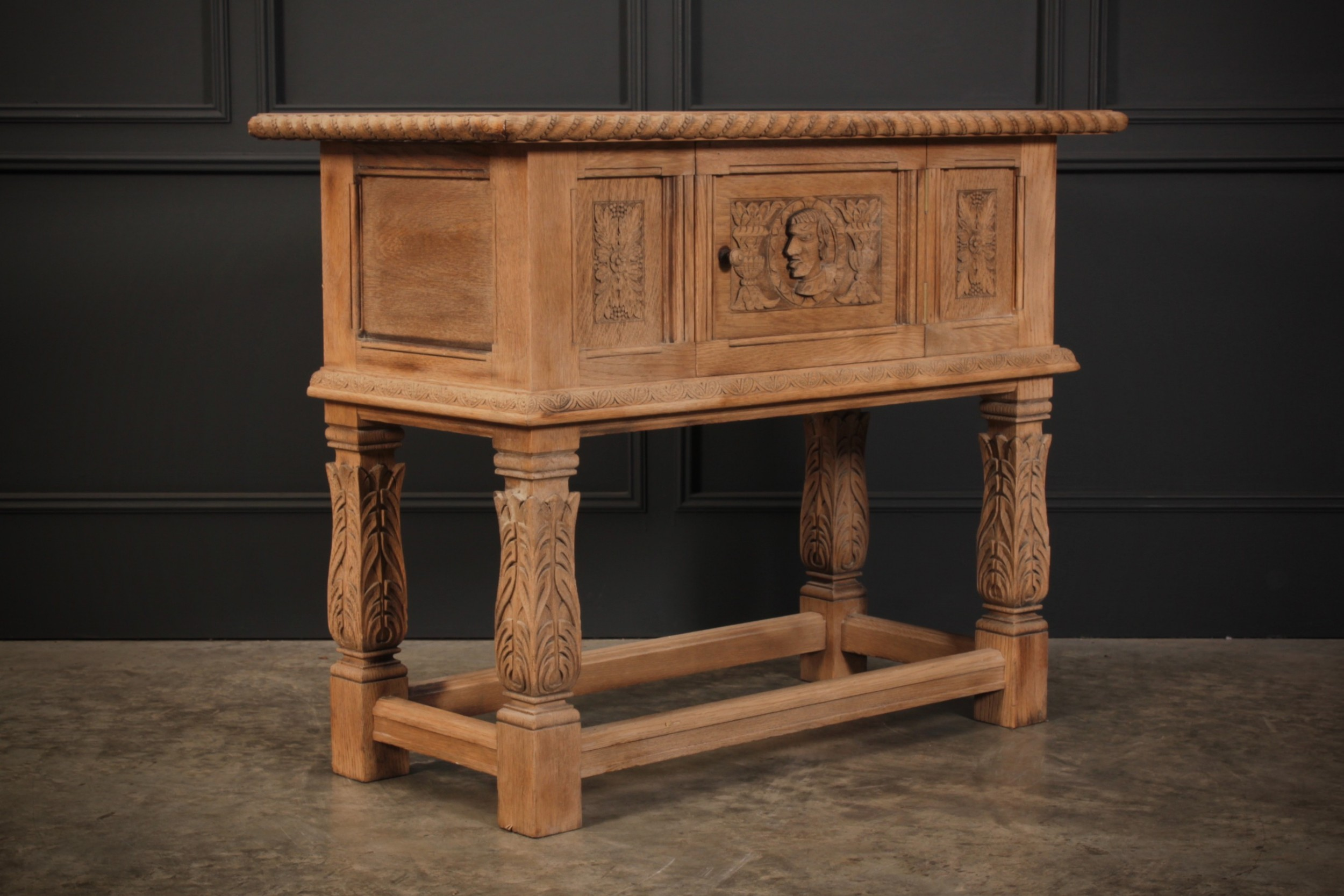 bleached carved oak console table