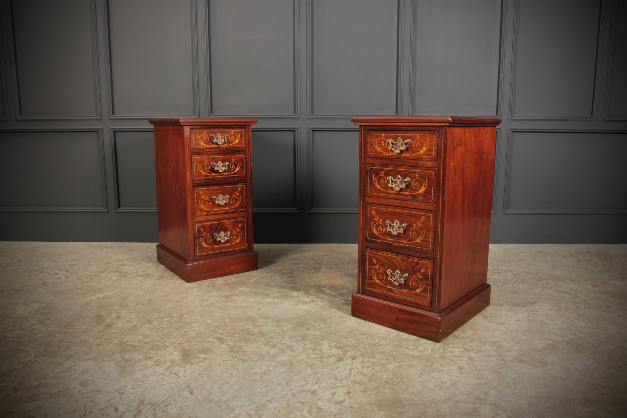 pair of rosewood mahogany marquetry inlaid bedside chests