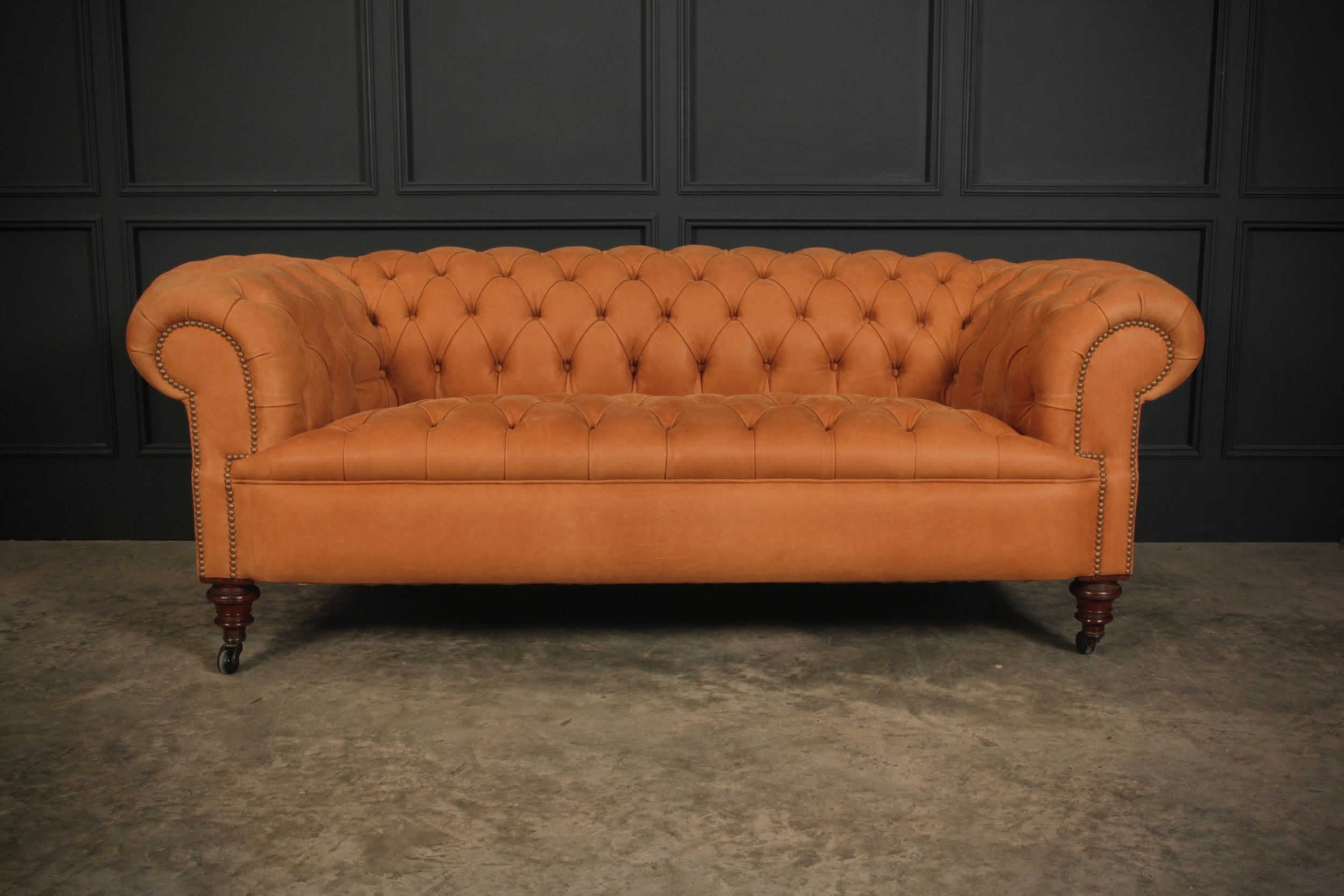 19th century nubuck leather buttoned chesterfield sofa
