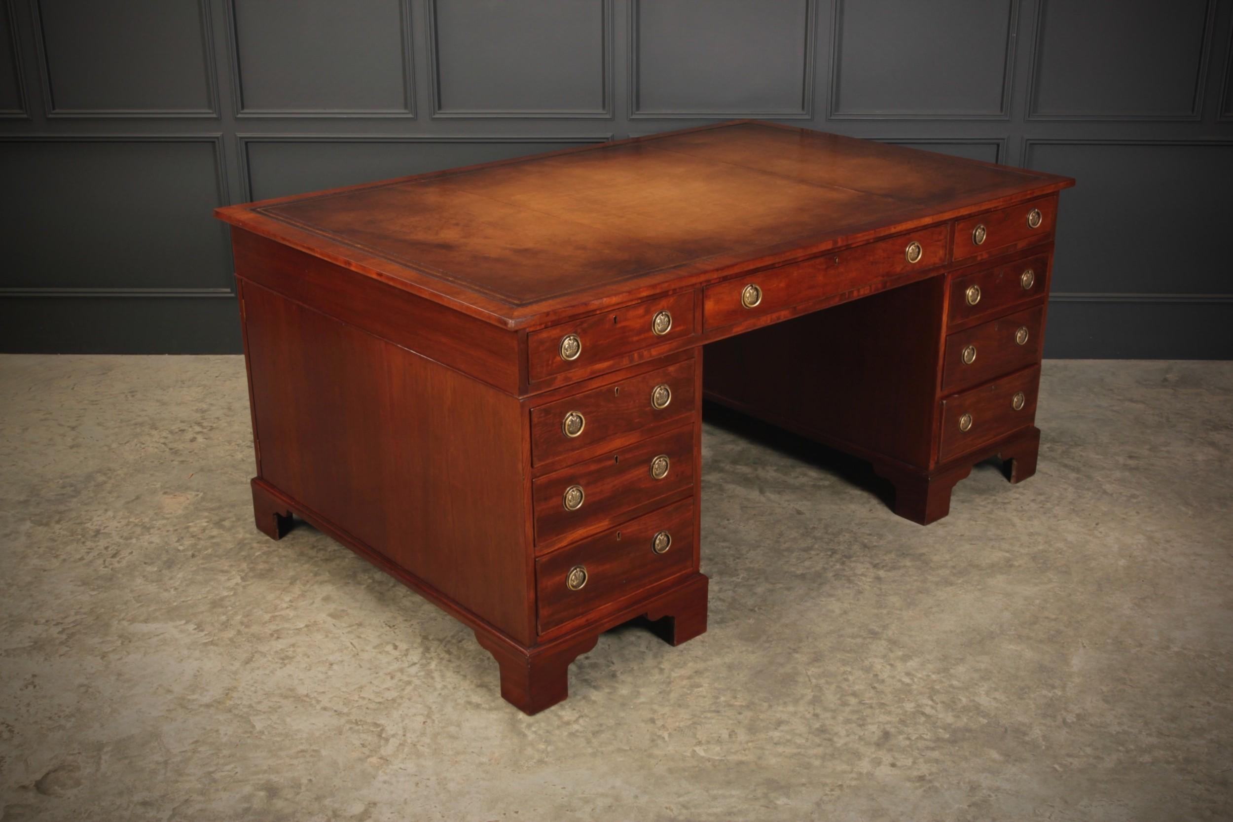 very large regency mahogany partners desk