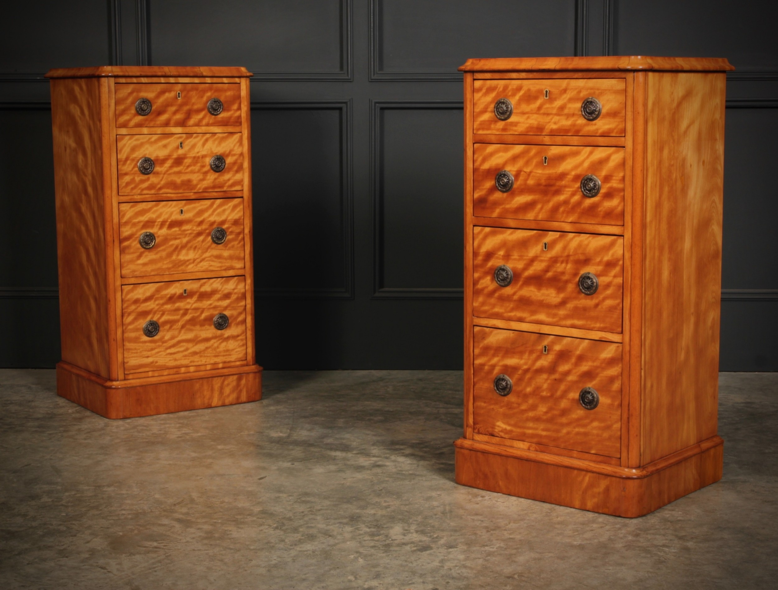 victorian satinwood bedside chests