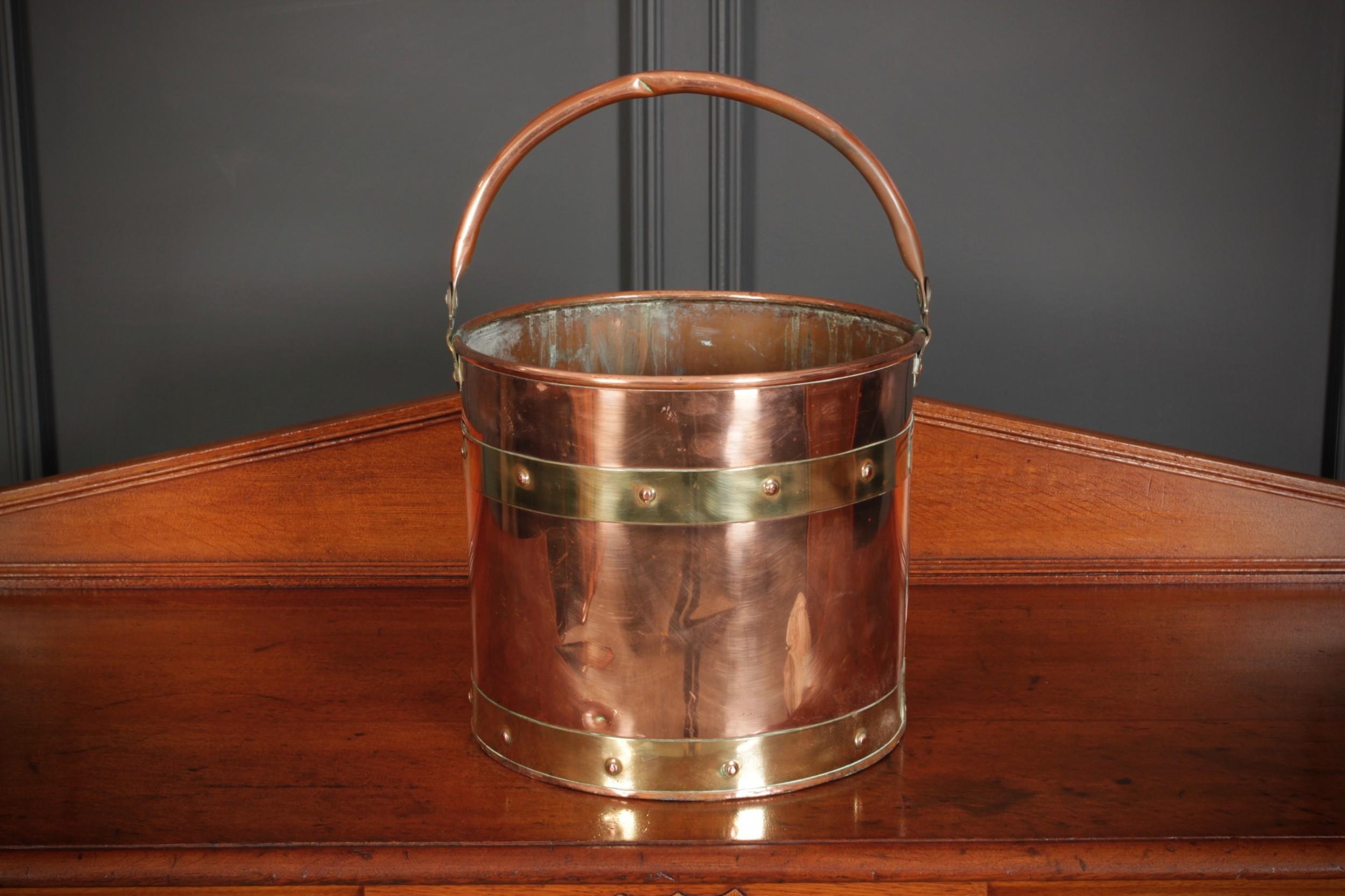 victorian copper brass bucket