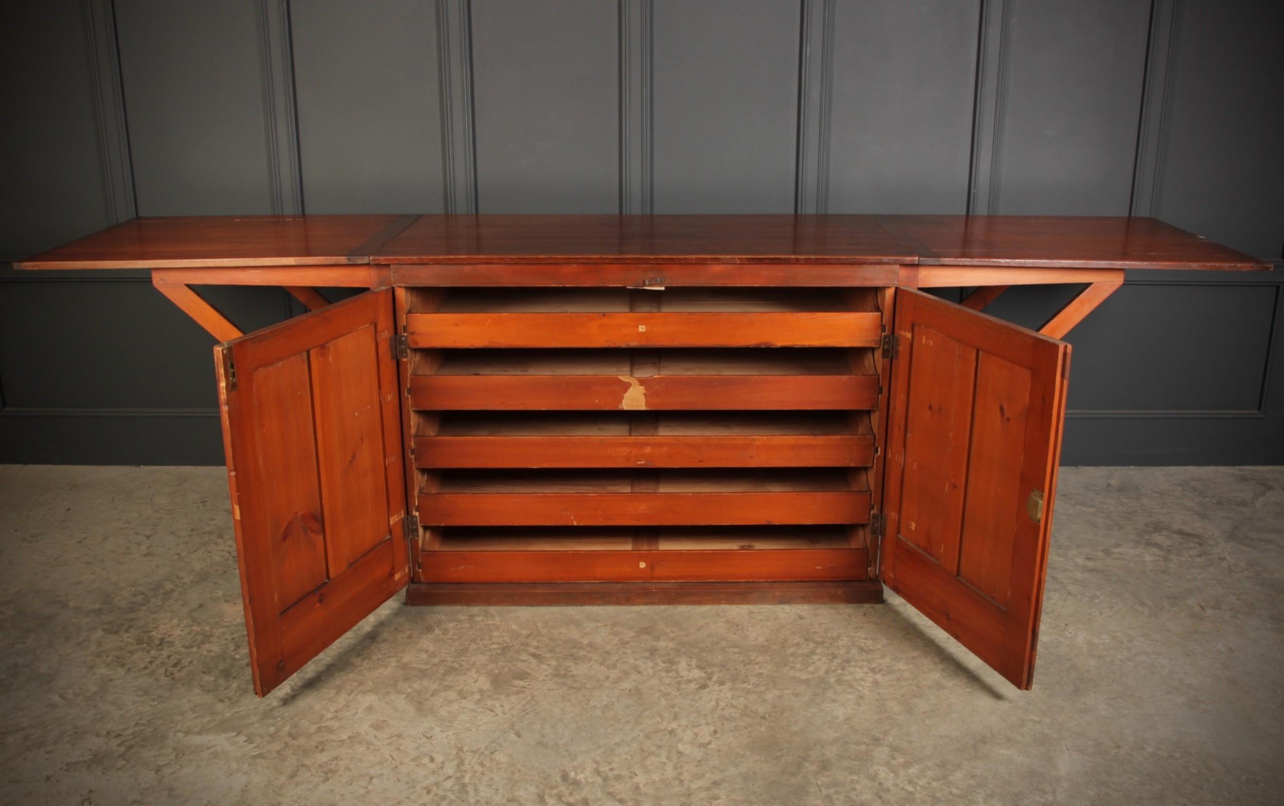 victorian pitch pine drop flap plan chest
