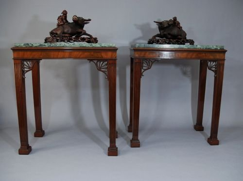 pair of adam style marble top tables