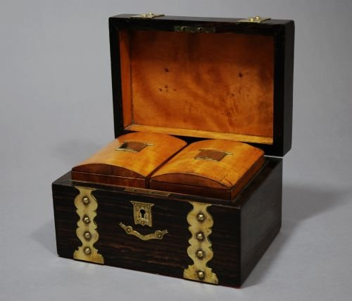 19thc coromandel wood brass bound tea caddy