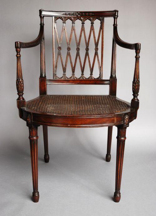 Edwardian Mahogany Sheraton Style Chair With Original Cane Seat 232981
