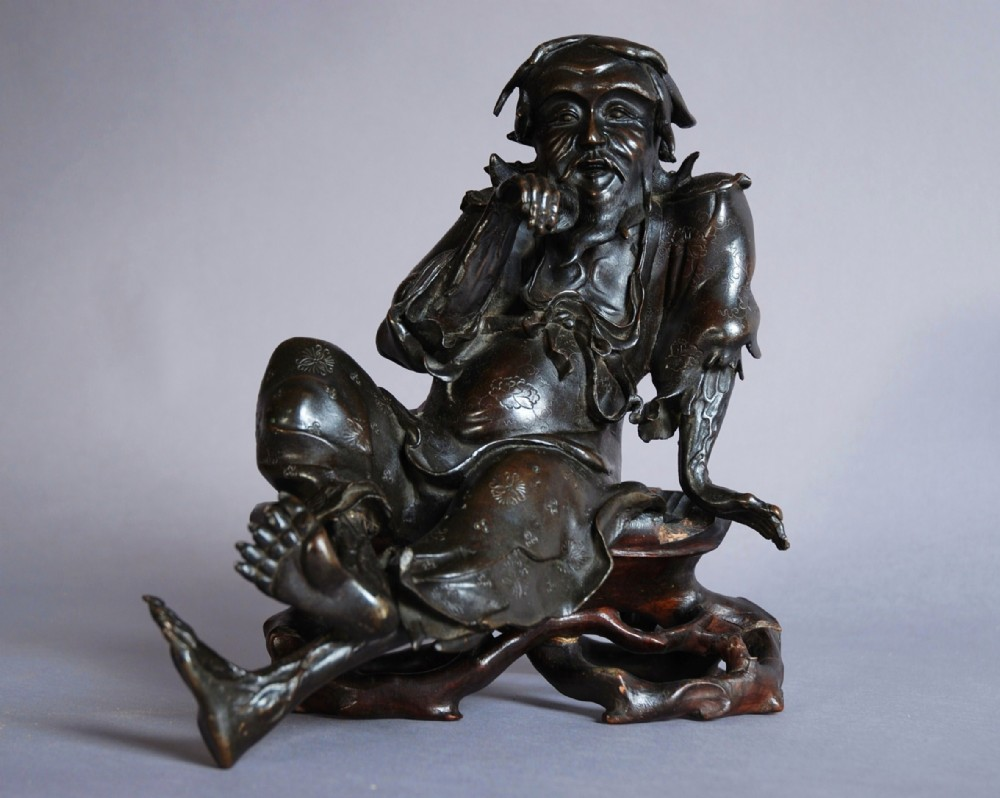 chinese signed bronze of seated old man