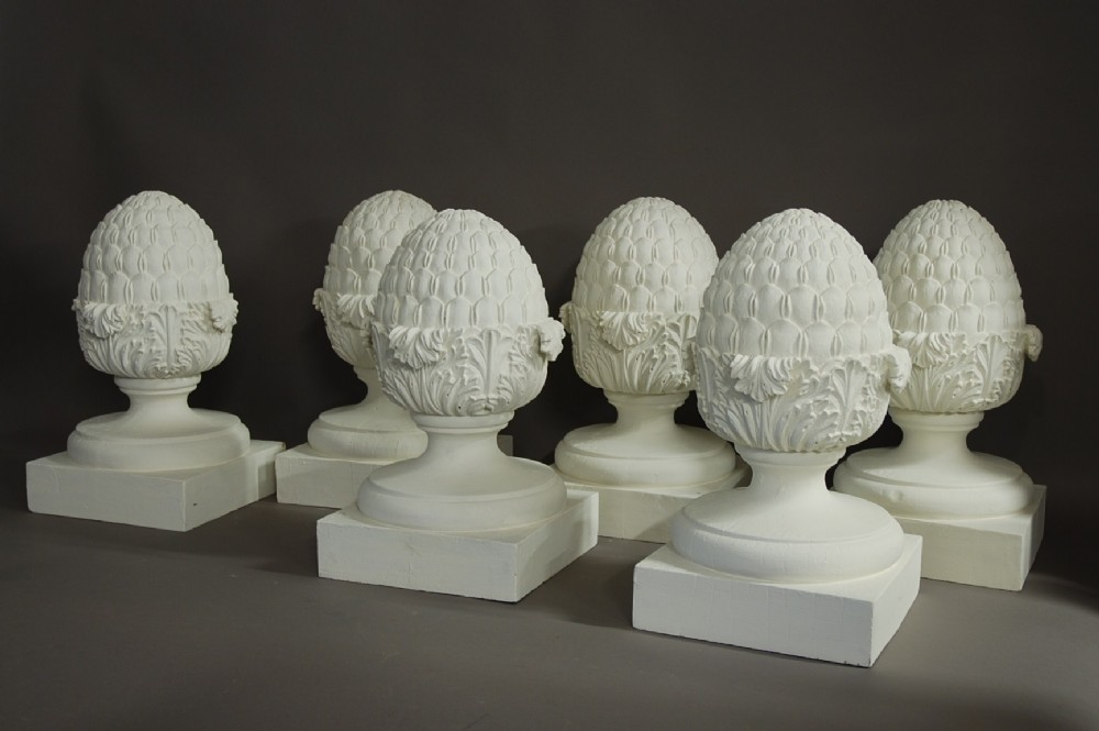 Set Of 6 Decorative Wooden Pineapple Finials 346691