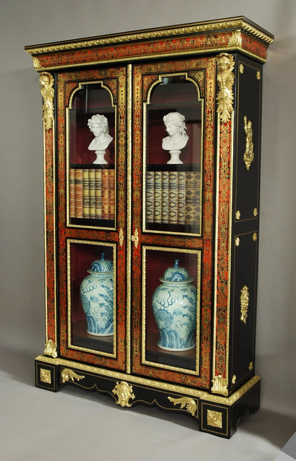 superb quality french napoleon iii boulle marquetry bibliotheque bookcase