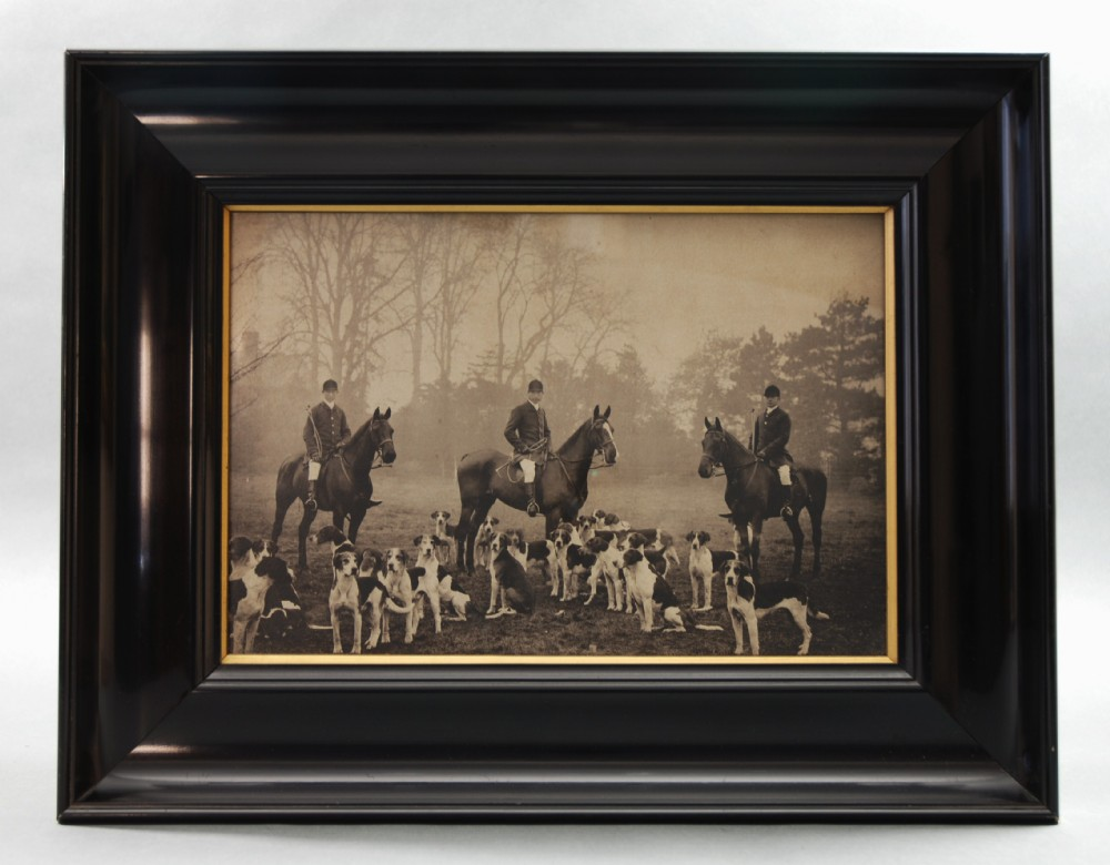 original victorian photograph of huntsmen on horseback