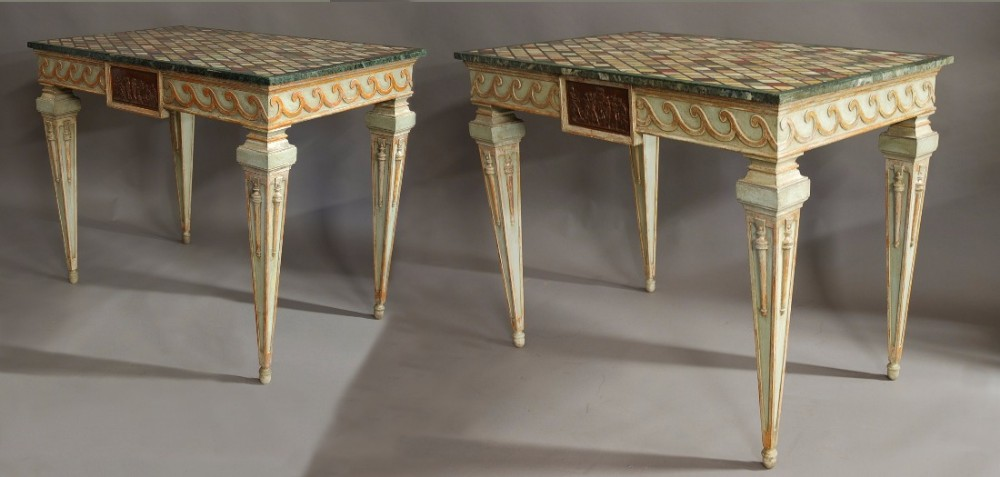 highly decorative pair of italian painted console tables with specimen marble tops