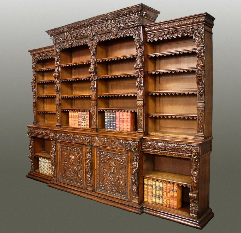 large exceptional quality 19th century oak breakfront bookcase in the renaissance style