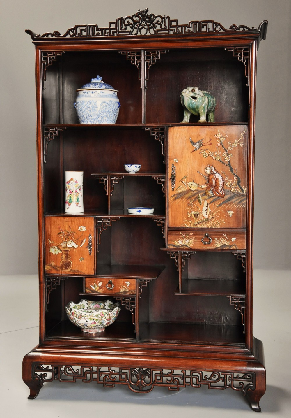 exquisite french 19thc japanese style rosewood display cabinet attributed to gabrielfrederic viardot