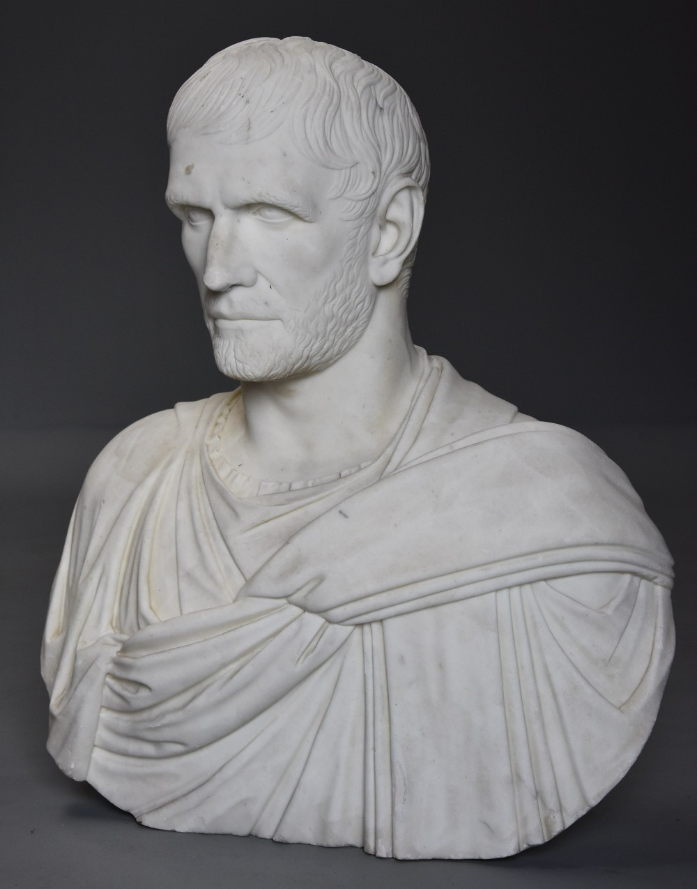 superb rare 19th century larger than life marble bust of the capitoline brutus after the antique