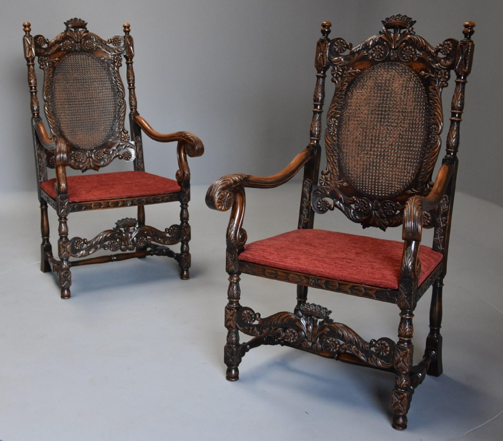 superb pair of charles ii or carolean style walnut armchairs of substantialproportions