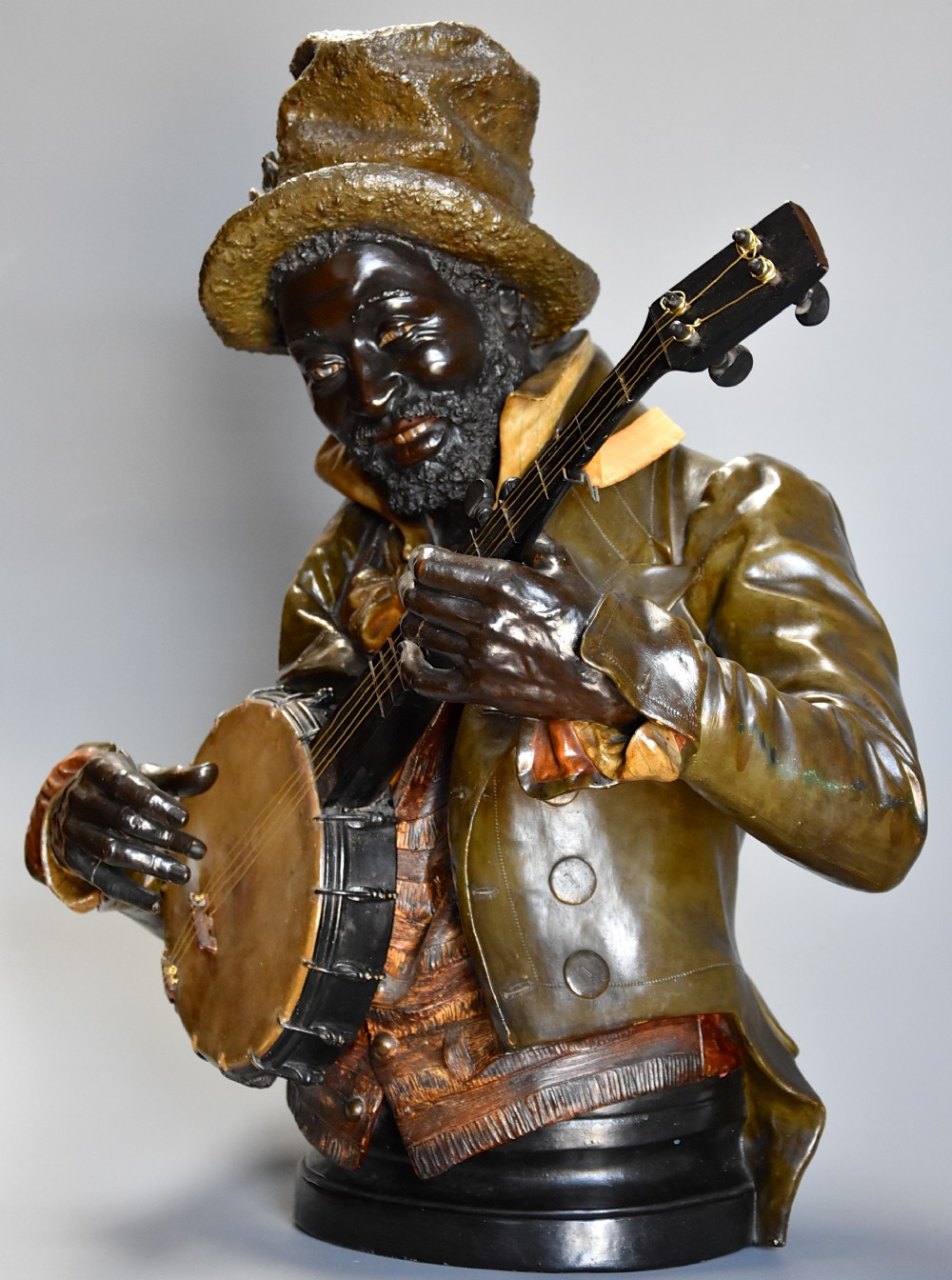 late 19thc fine quality life size terracotta bust of the 'banjo player' after pietro calvi 18331884