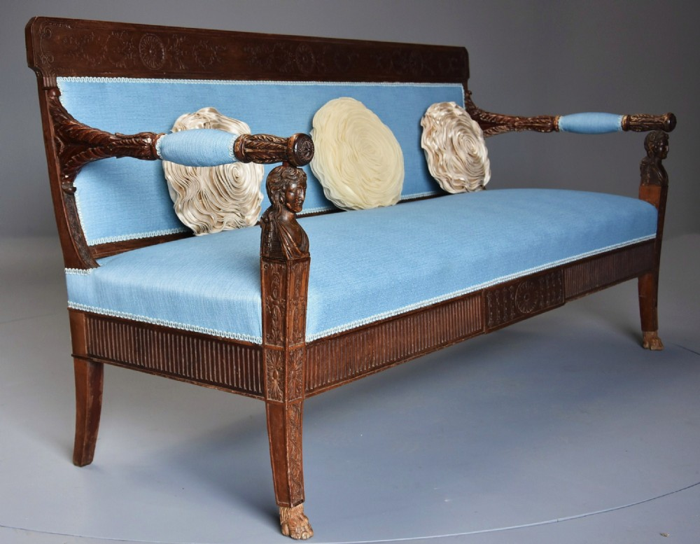 late 18th century extremely rare walnut italian sofa canape of neoclassical design