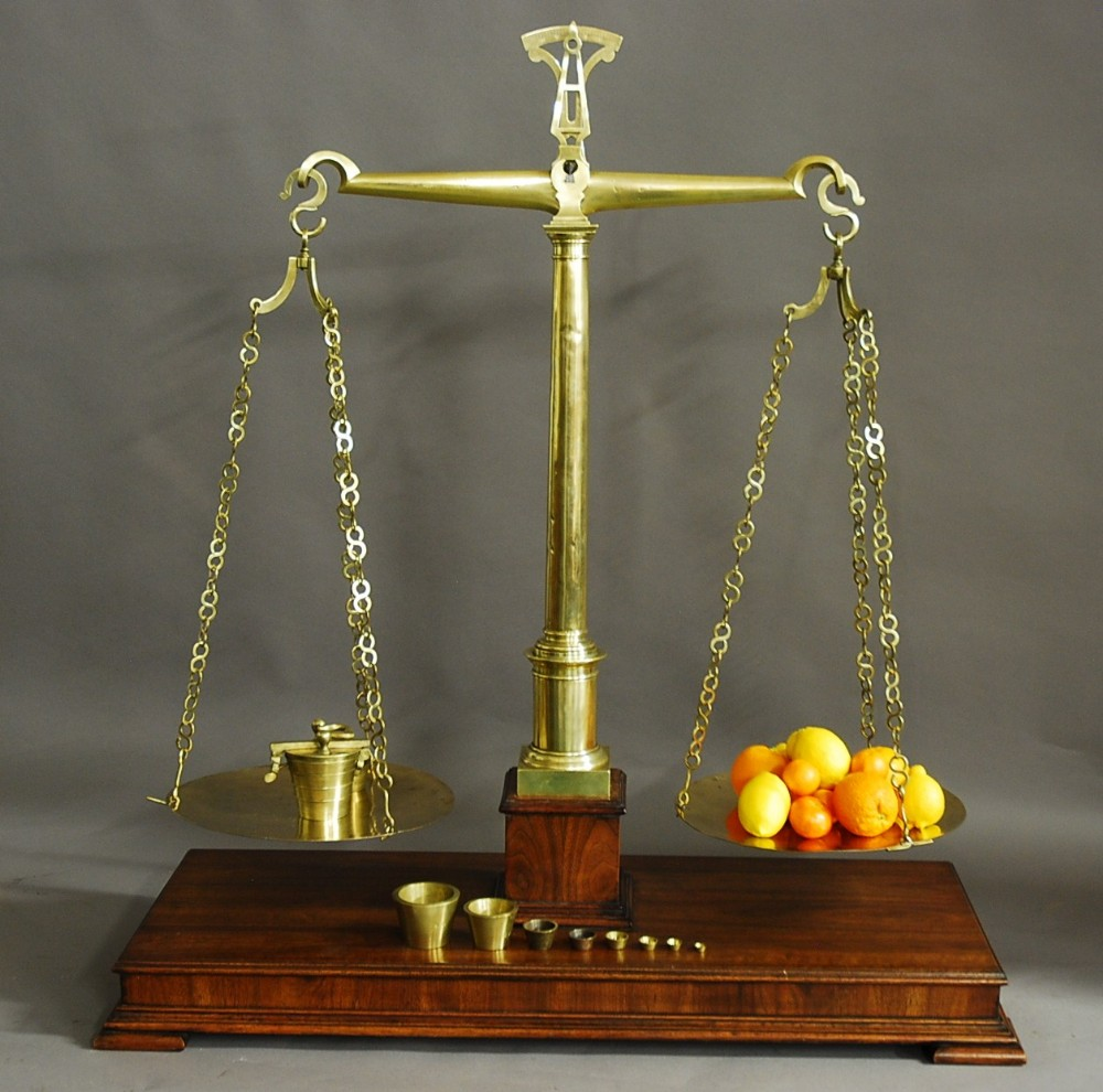 very large highly decorative pair of 19thc brass apothecary balance scales with weights