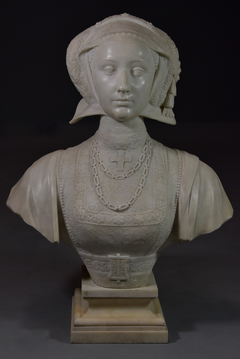 finely carved 19thc lifesize carrara marble figure of anne of cleves 15151557 inscribed anne de cleve reine possibly italian