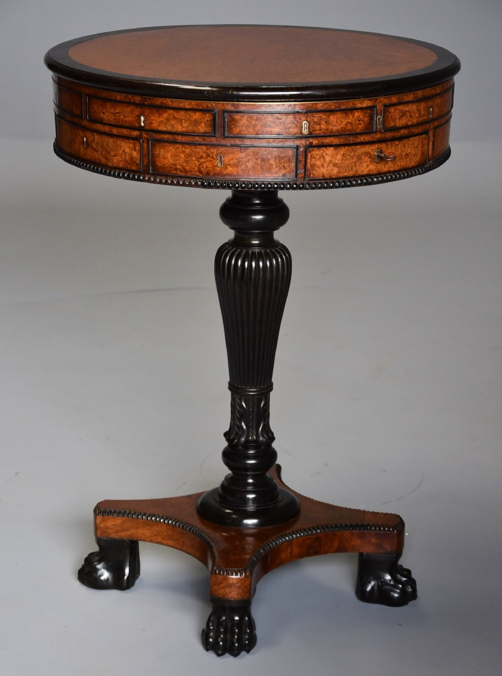 exceptionally rare early 19thc anglo chinese amboyna macassar ebony work table drum table