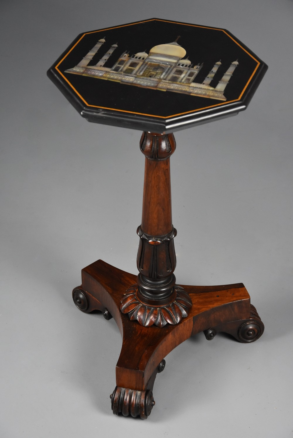19th century rosewood table with octagonal polished slate top with inlaid taj mahal design