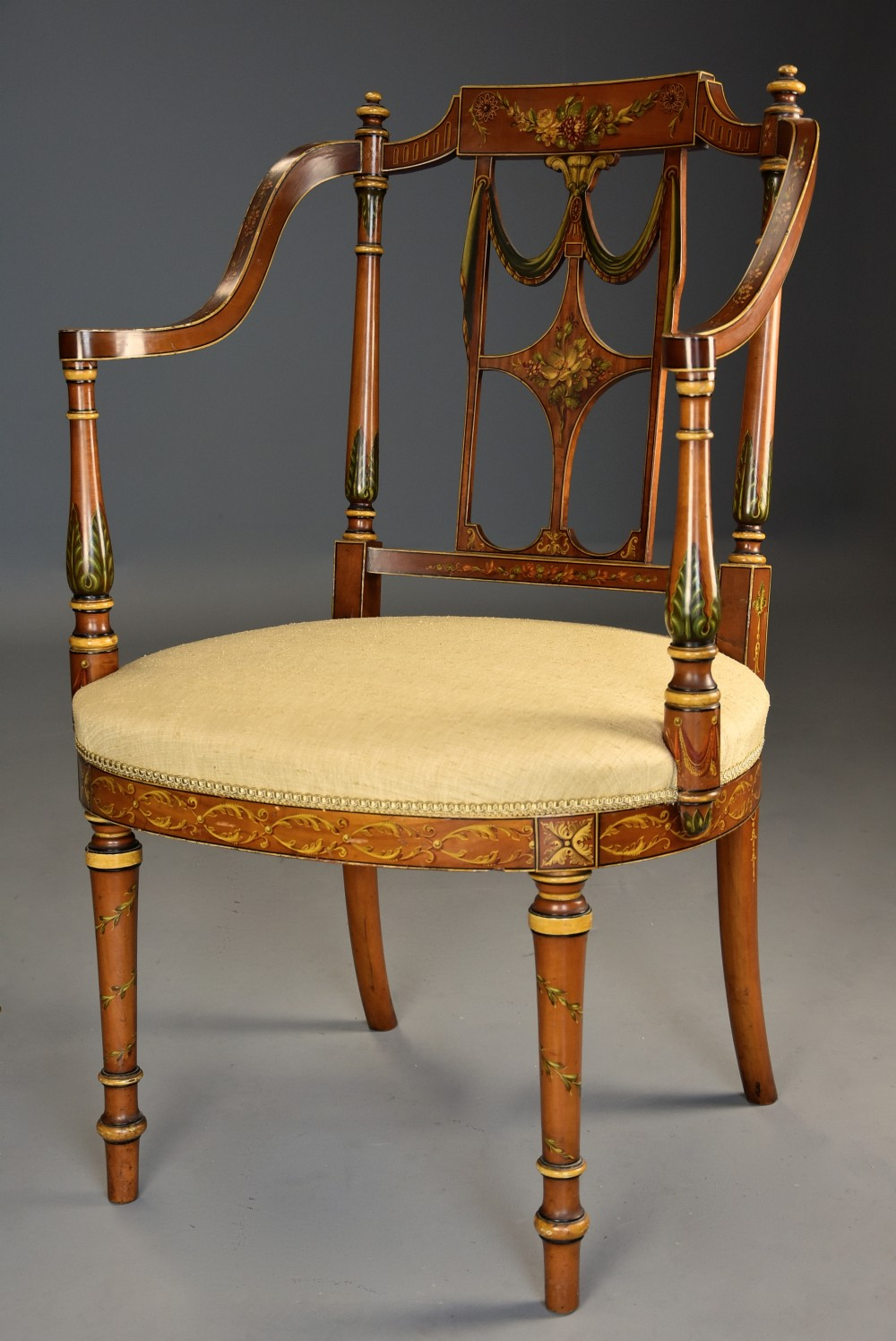 fine quality early 20th century sheraton revival satinwood painted open armchair