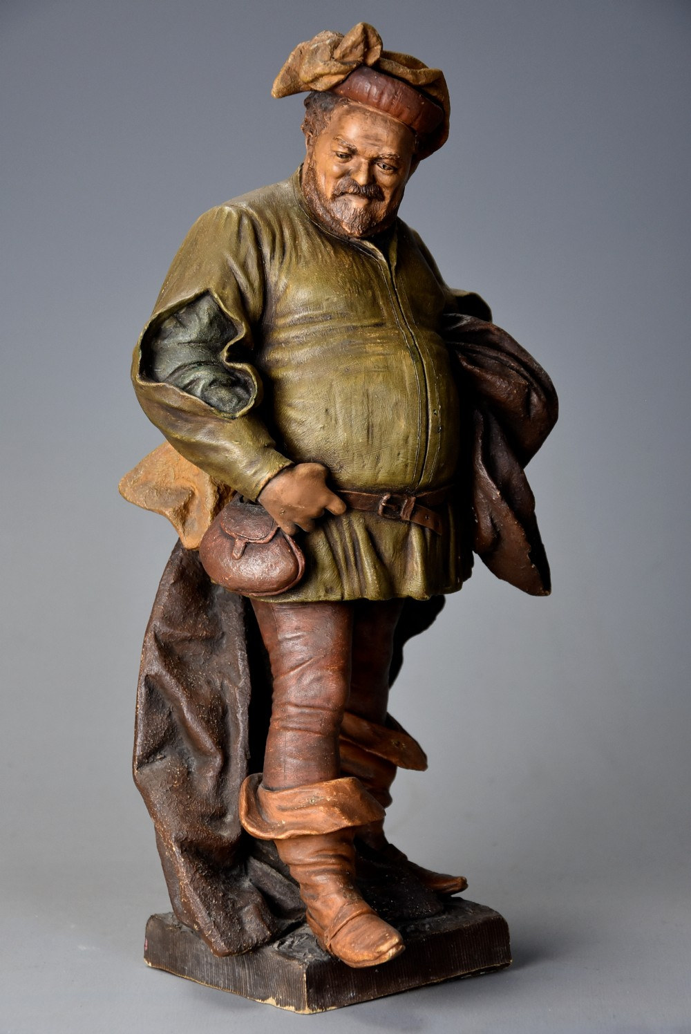 late 19th century terracotta figure of falstaff by friedrich goldscheider