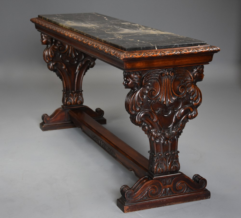 fine quality italian 19th century renaissance style walnut marble centre table