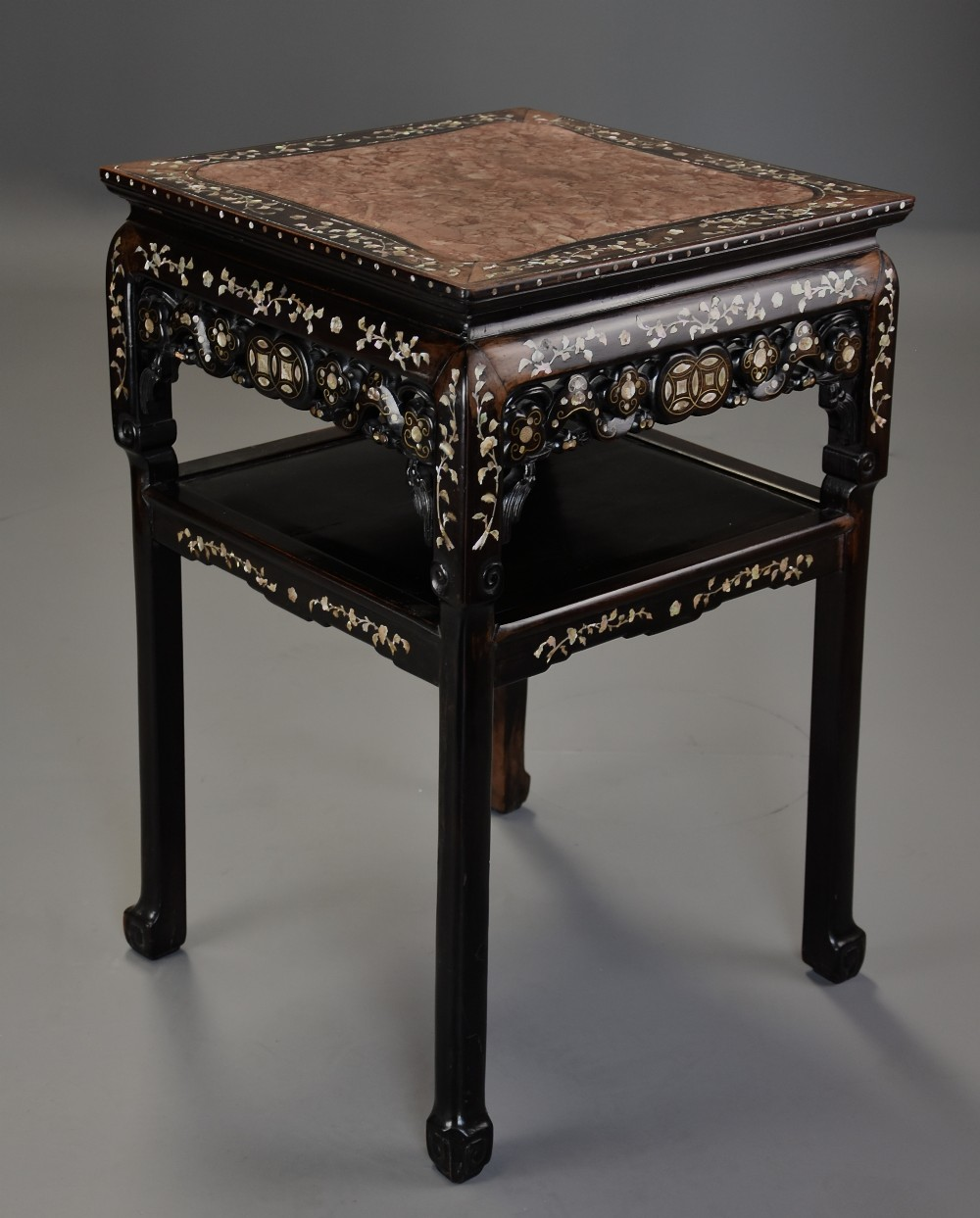 highly decorative late 19thc chinese hardwood mother of pearl square pot stand