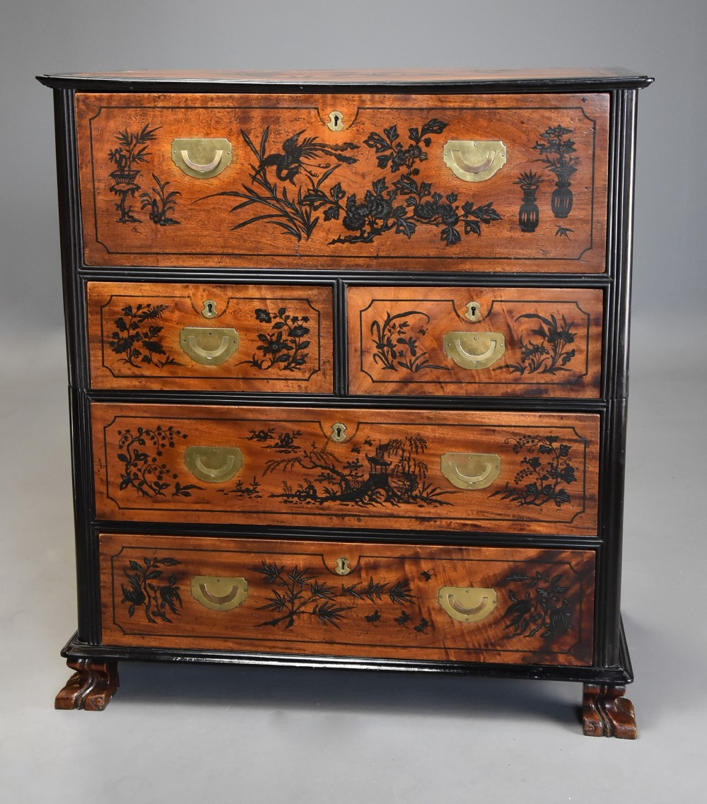 extremely rare superb early 19thc anglo chinese camphor wood campaign secretaire chest of excellent patina
