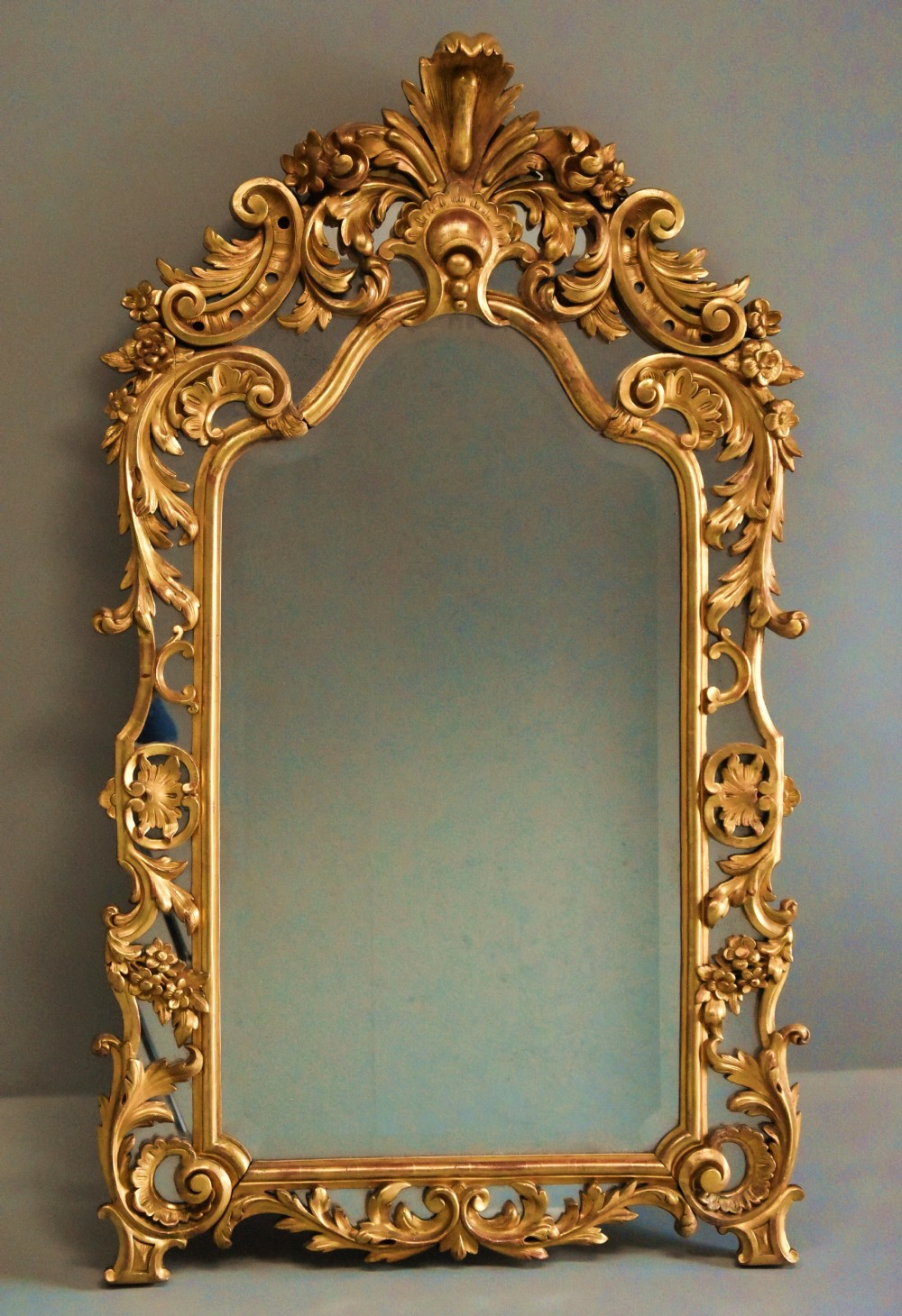 large mid 19th century italian giltwood mirror with arched top