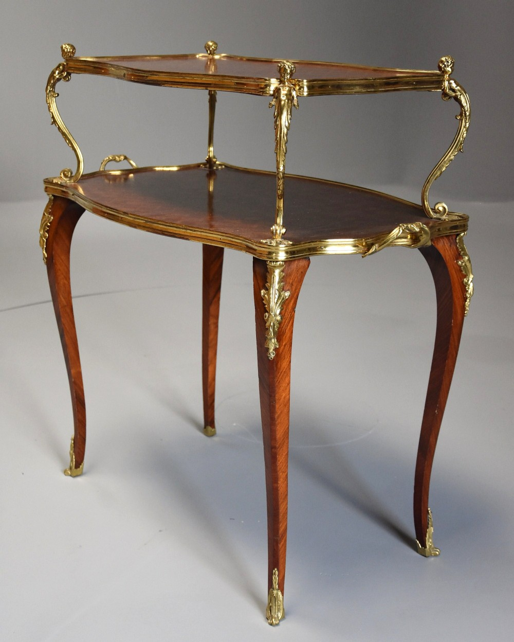 fine quality french 19thc kingwood parquetry two tier serpentine shaped etagere