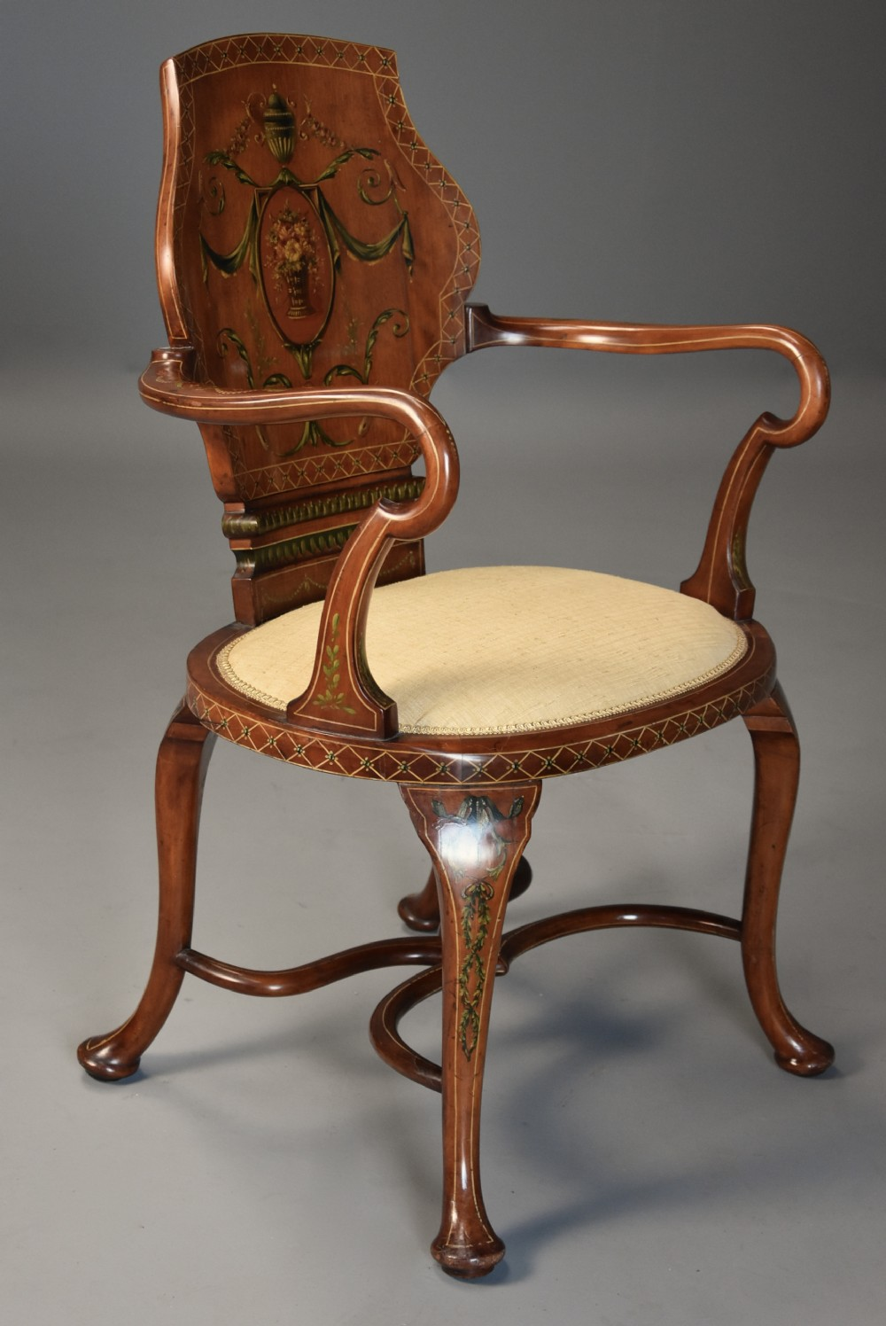 highly decorative edwardian satinwood painted armchair in the georgian style