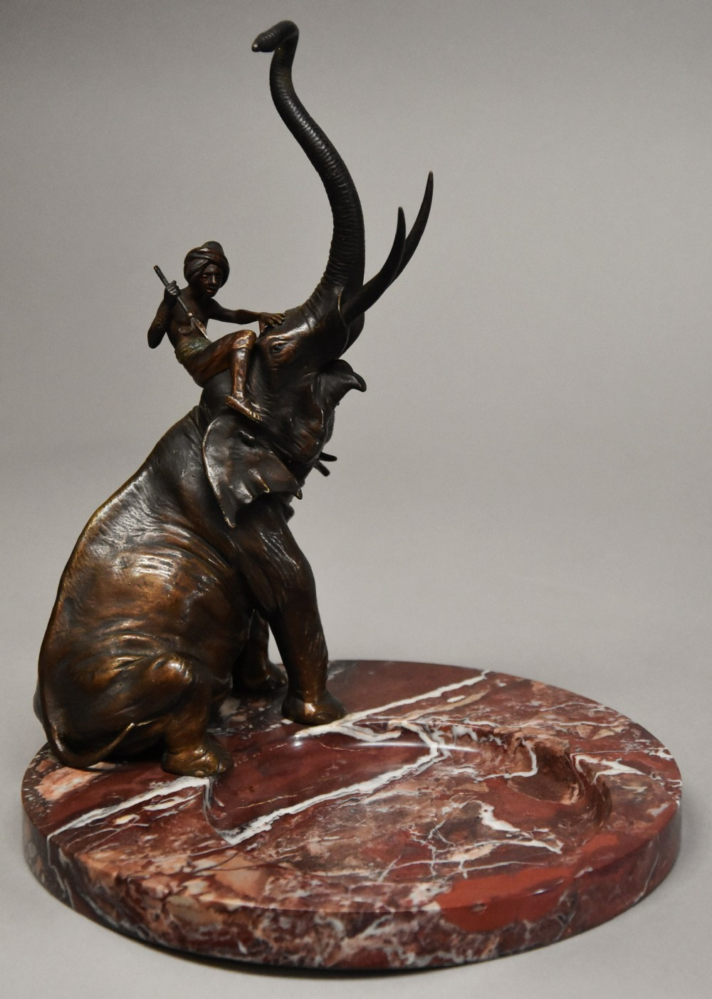 superb quality late 19th century bronze elephant on marble base by franz bergman