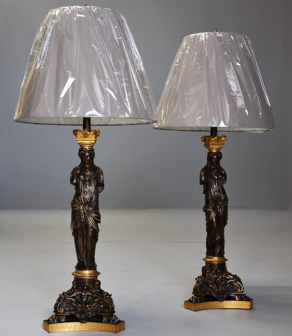 large pair of superb quality 19thc bronze gilt bronze table lamps signed barbedienne