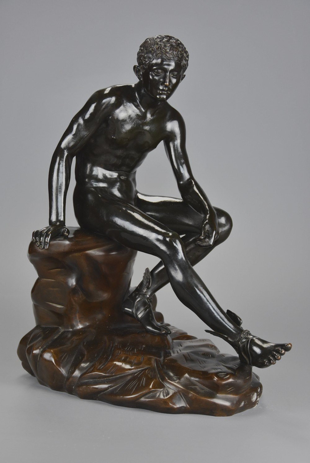 large fine quality late 19thc grand tour italian bronze of 'seated hermes' after the antique