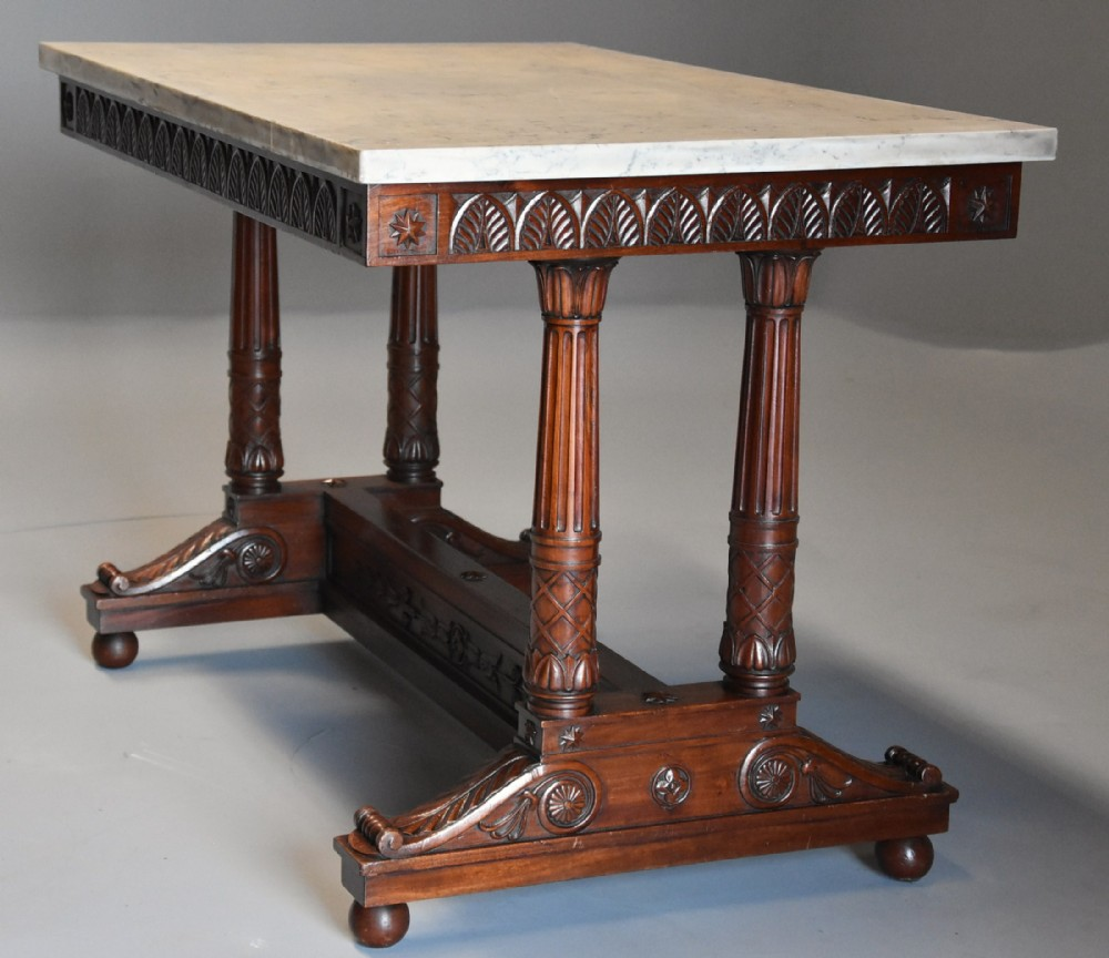 rare fine quality french empire oblong centre table with marble top stamped 'jacob'