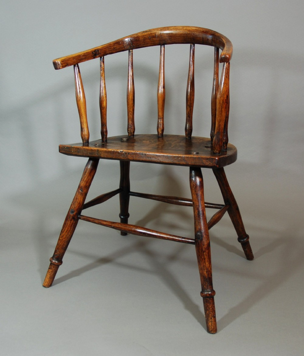early 19th century primitive hoop back ash windsor child's chair of superb patina